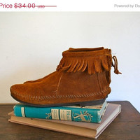 30% OFF Store Wide vintage moccasins - MINNETONKA brown suede ankle booties / 5 or youth 4