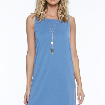 Sleeveless Brushed Jersey Cross Back Dress - Blue