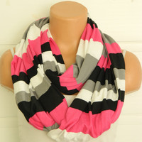 Striped Infinity Scarf, textile pink,black,grey and white Scarf,Loop Scarf,Circle Scarf,Cowl Scarf,Nomad Cowl....Striped Scarf