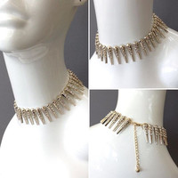 """12"""" gold crystal 1"""" spike metal choker collar necklace"""
