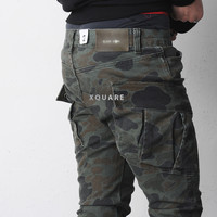 Camouflage Slim-Baggy Huge Cargo Pants