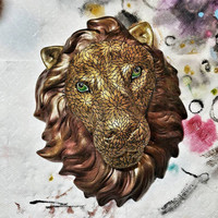 RESERVED for DF: Hand Painted ceramic Lion Head