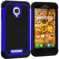 Black / Blue Hybrid Rugged Armor Protector Hard Case Cover for Alcatel One Touch Fierce 7024W