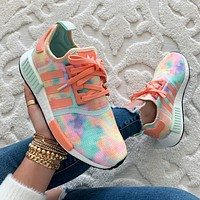 "ADIDAS NMD R1 ""Easter"" Tie Dye Women's Mesh Breathable Sneakers Shoes"