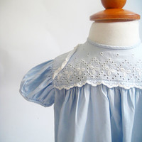 Baby Girl Dress, Blue Eyelet Baby Dress Two-Piece, Vintage, 1960's, Baby Clothes, 12 Months