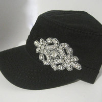 Black Cadet Military Army Hat with Rhinestone Accent Womens Hats Accessories Sun Hats