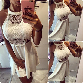 2016 Summer Sexy Lace Hollow Halter Backless Dress