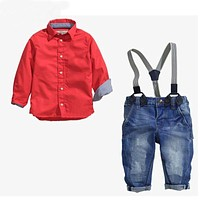 Baby clothes boy clothing set children set cotton long-sleeved red shirt + jeans kids clothes set