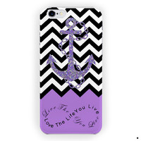 Chevron Pattern Light Purple Anchor Without Glitter For iPhone 6 / 6 Plus Case