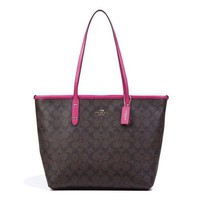 COACH Trending Ladies Personality Leather Tote Handbag Shoulder Bag I
