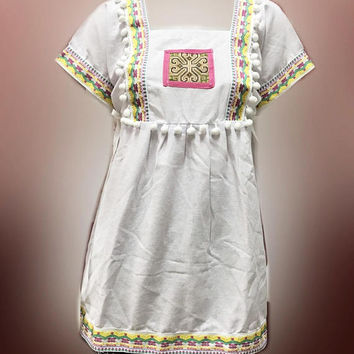 """Tribal shirt blouse with strap chest White hill tribal Korean style Bust 40"""" Square collar shirt ,pom pom shirt Embroidered shirt women"""