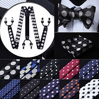 Dot Design Various Classic 6 Clips Suspender& Self Tie Bow-tie and Pocket Square Set