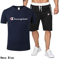 Champion Summer Popular Men Leisure Print Short Sleeve Top Shorts Sport Set Two Piece