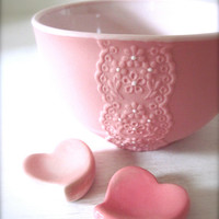 Girly Pink Porcelain Lace Bowl with Heart Cutlery Rest Set -Hideminy Lace Series