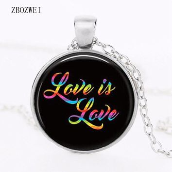 NECKLACE JEWELRY LGBT Love is love jewelry, gay pride,  rainbow, gay marriage,