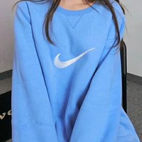 N NIKE Popular Women Men Blue Embroidery Logo Round Collar Top Sweater High Quality I-A-HRWM