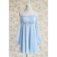 Blue Off-Shoulder Ruffled Embroidery Detail Chiffon Dress