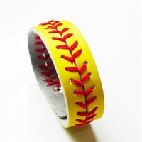 Softball Baseball Bracelet Snap Button Wristlet Leather Weaved Bangle Sports Jewelry 12 Colors
