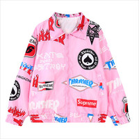 Pink Graffiti Print Pointed Flat Collar Zipper Jacket