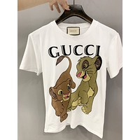 GUCCI New fashion letter lion print couple top t-shirt White