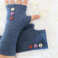 Blue gloves, blue woolen gloves, blue fingerless gloves, arm warmers blue, blue buttoned gloves, unique products, Christmas gift option