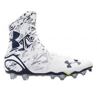 Under Armour White/Navy Highlight Cleats   Lacrosse Unlimited