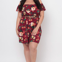 Plus Size Off The Shoulder Floral Ruffle Dress - Burgundy