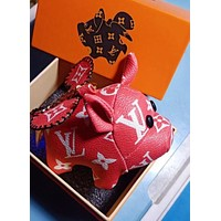 Louis Vuitton LV Fashion Women Men Chic Lovely Small Pig Bag Hanging Drop Car Key Chain Bag Accessories Red