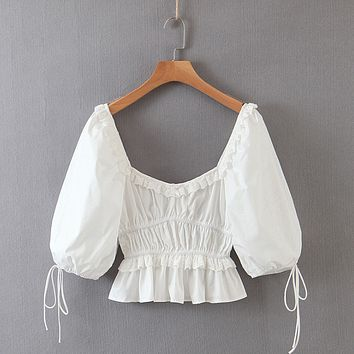 Open navel half sleeve white shirt top