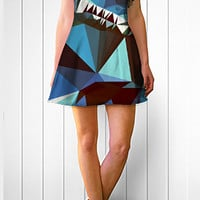 Summer Dress, Blue and Brown Geometric Print