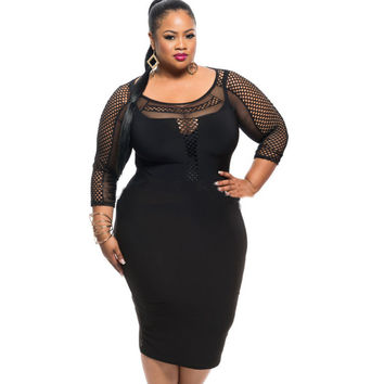 Plus Size 2016 Black Women Summer Dress Large Size Sexy Package Hip Mesh Womens Clothing Night Club Party Dress For Fat MM DYF48