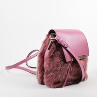 DCCK Rose ¡ë?¨¬?¨¬?Christian Louboutin Leather and Faux Fur  Lucky L  Bucket Backpack