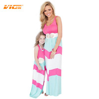 VICVIK Brand Mother and Daughter Clothes Summer Dress Family Set Family Look 2016 Mother Daughter Matching Clothes