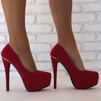 Midsummer's Dream Platform Heels in Red