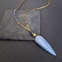 Long VINTAGE Raw Brass Chain Blue Kyanite Arrowhead Spear Pendant Necklace, Denim Blue, Boho Edgy Jewelry, One of A Kind