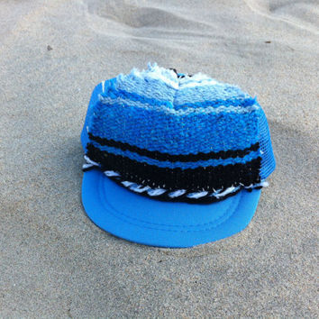 Hand Stitched Trucker Hat / Infant / Mexican Blanket Surf . Royal Blue