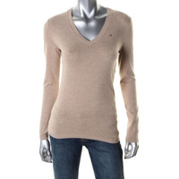 Tommy Hilfiger Womens Heathered Long Sleeves Pullover Sweater