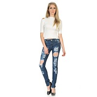 Womens Casual Fashion Jeans Push Up Slim Fit