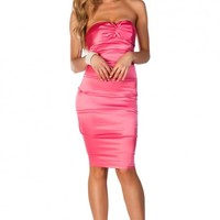 Felicia Pink Twist Front Satin Strapless Cocktail Midi Dress