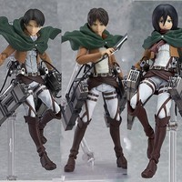 Cool Attack on Titan Anime  Eren Mikasa Ackerman Levi/Rivaille Figma PVC Action Figure Model Toy AT_90_11
