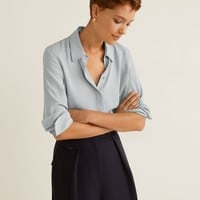 Contrasting seams shirt - Women | Mango USA