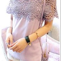 SEXY AND FRESH ONE WORD LACE SHIRT