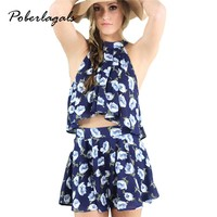 Macacao feminino 2016 Summer Women Cool print halter bow tie suit rompers Womens beach Playsuit Shorts jumpsuit culottes