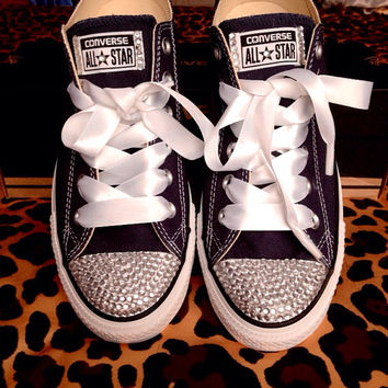 Rhinestone Converse With Ribbon Laces
