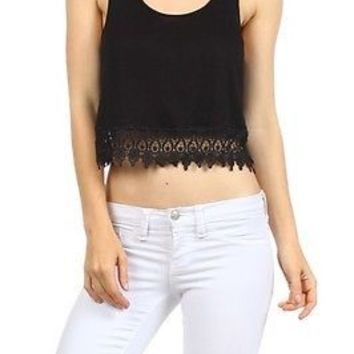 Sexy Solid Colors Front Crochet Lace Trim Racer Back Cropped Tank Top Shirt