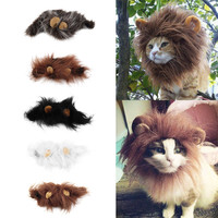 Pet Cat Dog Wig Emulation Lion Hair Mane Ears Head Cap Autumn Winter Dress Up Costume Muffler Scarf