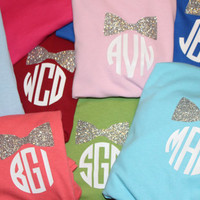 Child or Preteen Girl Preppy Glitter Small Bow or Bow Tie Monogrammed T-Shirt