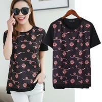 SIMPLE - Popular Fashionable Summer Beach Holiday Floral Round Necked Short Sleeve T-shirt b2354