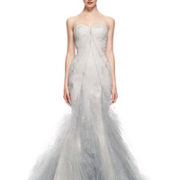 Hand Painted Tulle Strapless Ruffle Skirt Gown by Zac Posen for Preorder on Moda Operandi