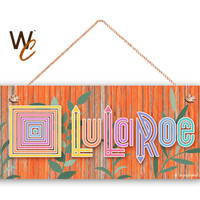 "LuLaRoe Sign, Company Sign, 6""x14"" Sign, Orange Distressed Wood Style with Leaves, Promote Business or Boutique, Rustic Style, Made To Order"